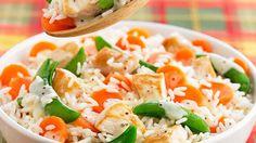 Reis mit Hähnchenbrust und Gemüse