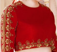 Best 12 Red & Peach Designer Heavy Embroidered Silk Wedding Lehenga Choli – Saira's Boutique Blouse Designs High Neck, Hand Work Blouse Design, Stylish Blouse Design, Silk Saree Blouse Designs, Bridal Blouse Designs, Silk Kurti Designs, Sari Blouse, Blouse Designs Catalogue, Embroidery Suits Design