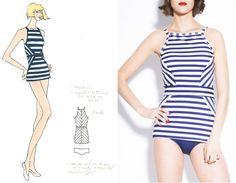 Inspirational stripe treatment by Parker Barker for Lime Ricki Swimwear.