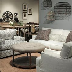 Brownstone Lorraine Round Cocktail Ottoman as a coffee table