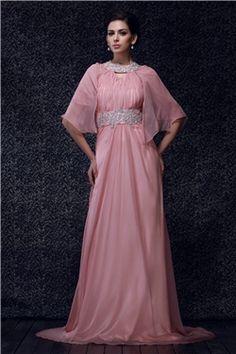 ユニーク Aライン エンパイア ホールター 七分袖 床までの長さ 花嫁さんの母ドレス