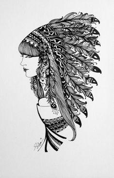 """""""Woman"""" zentangle art on Behance Easy Zentangle, Zentangle Patterns, Zentangles, Zantangle Art, Pen Art, Mandala Doodle, Mandala Art, Doodle Girl, Indian Horses"""