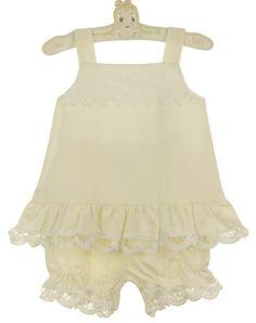 NEW Chabre Ivory Linen Pantaloon Set with White Battenburg Lace Trim $70.00