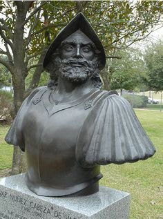 Cabeza de Vaca monument in Houston, Tx. He is the first European known to set foot in Texas. He arrived due to a shipwreck.