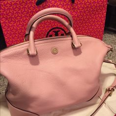 Tory Burch Satchel Pink Tory Burch Satchel. AUTHENTIC! Check size on their website. It's in amazing condition! Only used a couple times. Have dust bag as well. Tory Burch Bags Satchels