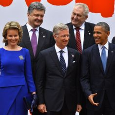 Ukraine's President Petro Poroshenko (top, L), Queen Mathilde of Belgium, King Philippe of Belgium and US President Barack Obama attend a ceremony for the 25 years anniversary of the first free elections in Warsaw, Poland, 04.06.2014