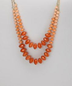 Orange Ombre Bead Double-Strand Necklace by ZAD - DIY OMBRE with rondelles - start by shopping dakotastones.com  - We love these colors & coral is one of the hottest colors of the year.