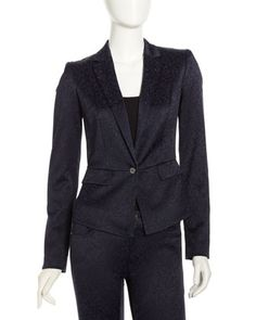 Jacquard Cropped One-Button Jacket, Midnight Dream by Tahari at Last Call by Neiman Marcus.