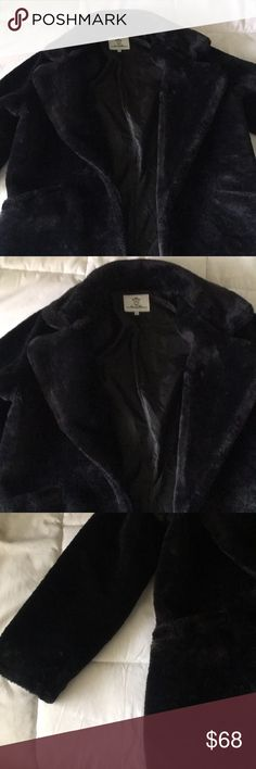 ❤️Vday sale❤️ Black faux fur coat Black faux fur coat SZ L. Only worn once and shows no signs of wear. Comes from a smoke free and animal free home. In the photos I am 5'1 and weigh 115 lb. to give you a better visual of how the coat fits. Offers and trades are accepted! Everything in great condition. Will ship within 1 or 2 days. lucy wang Jackets & Coats