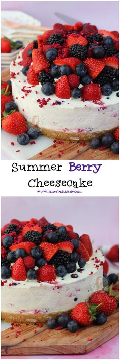 Summer Berry Cheesecake!! A delicious Summer Berry Cheesecake with a Vanilla Cheesecake, Strawberries, Raspberries, Blueberries and Blackberries and a Buttery Biscuit Base!