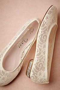Lace flats with heel bling