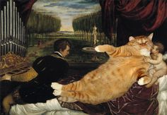 """Zarathustra the Cat at Great Artist's Mews  Titian, """"Venus with the Organist"""""""