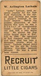 1912 Brown Backgrounds T207 #100 Arlie Latham Back
