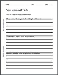 Medieval Europe Writing Exercises  Free To Print For High School  Early Peoples Writing Exercises  Free To Print Pdf File For High School  World