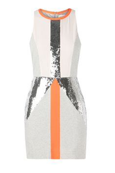 THE ESTABLISHED - fitted panelled dress with sequins down centre front & on hips