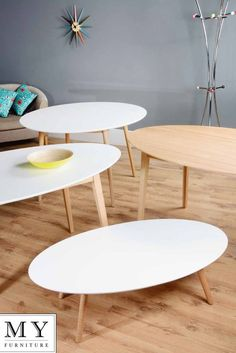 Tretton retro solid oak or lacquered white gloss Round Oval Dining Coffee table
