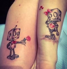 ▷ 1001 + ideas for couples, siblings and friends that fit tattoos - E . - ▷ 1001 + ideas for couples, siblings and friends that match tattoos – blushing girl robot with - Couple Tattoos Love, Love Tattoos, Small Tattoos, Tattoos For Women, Tattoo Couples, Unique Tattoos, Tattoos Skull, Body Art Tattoos, Tribal Tattoos