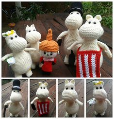 Moominpappa, Moominmamma, Moomintroll (Moomin) and Snork Maiden. I used a hook to make a walking cane for Moominpapa. I made Moominmama and Moominpapa using the hook. Cute Crochet, Crochet Dolls, Knit Crochet, Handmade Toys, Handmade Art, Amigurumi Patterns, Crochet Elephant Pattern, Baby Knitting, Granny Squares