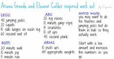 At first, if you really want to get a body like eleanor you have to know that it is a really hard work ! jumping jacks min wall sit bicycles side leg lifts lunges minutes cardio -call me maybe challenge -abs all night ( 30 min ) Summer Body Workouts, Easy Workouts, Cardio Workouts, Workout Routines, Workout Ideas, Butt Workout, Eleanor Calder, Call Me Maybe, Side Lunges