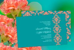 Damask Elegance Wedding Invitation in coral and turquoise - so trendy and PERFECT for summer!