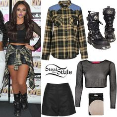 Jesy Nelson posed with her bandmates at Hallam FM Summer Live last week wearing a Mesh Crop Top like this from Boohoo ($20.00), Black High Waisted Shorts (Sold Out) and Beige Fishnet Two Tone Tights (Sold Out) both from Topshop, with her favorite New Rock 575 Reactor Itali Boots ($304.87). She tied a Leon & Harper Shirt (£56.00) around her waist.