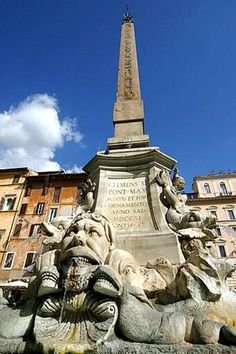The Fontana del Pantheon. In 1886, the original marble figures were removed, and replaced with copies by Luigi Amici. Today, the originals can be seen in the Museum of Rome.