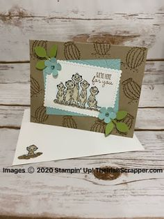 Today, I have the cutest project featuring The Gang's All Meer stamp set. These meerkats are adorable! It's Your Birthday, Birthday Cards, Diy And Crafts, Paper Crafts, Baby Zebra, Cat Cards, Stamping Up Cards, Paper Pumpkin, My Stamp