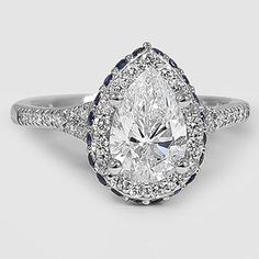 Platinum Circa Diamond Ring with Sapphire Accents // Set with a 1.05 Carat, Pear, Super Ideal Cut, E Color, IF Clarity Diamond