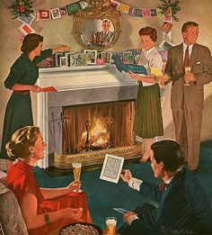 Looking Over the Christmas Cards, art by Douglass Crockwell, 1953