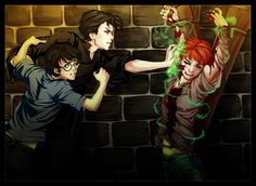 Tom attacks Ron and Harry tries to stop him Harry Potter Beasts, Harry Potter Comics, Harry Potter Magic, Harry Potter Ships, Harry James Potter, Harry Potter Anime, Harry Potter Fan Art, Harry Potter Universal, Harry Potter Memes