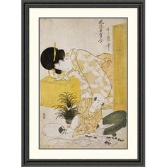 Global Gallery 'A Mother Dozing While Her Child Topples a Fish Bowl' by Kitagawa Utamaro Framed Painting Print Size: