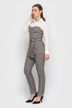 f14afa549cd2 Gray Check Fitted Cocktail Jumpsuit