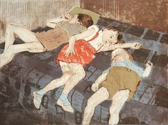 """""""Late-Night Casualties of the New Year's Eve Party,"""" 2009.  Woodcut, drypoint and aquatint. Ellen Heck"""