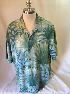 TOMMY BAHAMA Hawaiian Silk Camp Shirt Men's 2XL Looped Collar Coconut Buttons #TommyBahama #GolfPoloShirt