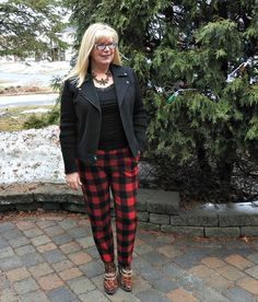 Old Navy Buffalo Plaid Harpers with a moto jacket and leopard booties