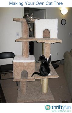 This is a guide about making your own cat tree. Cat trees provide a great place for your cats to hang out, sleep and play.  Even smaller cat trees can be very expensive. Animal Projects, Animal Crafts, Cat Crafts, Wood Projects, Craft Projects, Small Cat Tree, Diy Cat Tree, Kitty Condo, Buy Tools