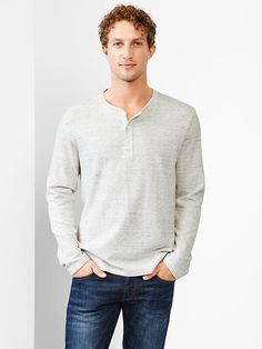 Textured ribbed henley Product Image