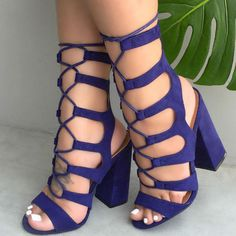 Lace Up Cut Out Chunky Heels