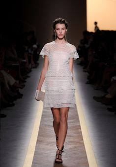 The silhoueete, sweet ruffles, and tiers remind me of my 8th grade graduation dress, which was not by any means a Valentino.  From the ready-to-wear, Spring/Summer 2012 collecton.