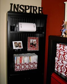 @Leslie Hamilton - for bakesale  Bingo....just like whats in my head:   Scrapbook/craft room love the black, red and white