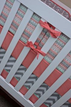 Salmon Mint Tribal Arrows Baby Bedding Crib Set by modifiedtot