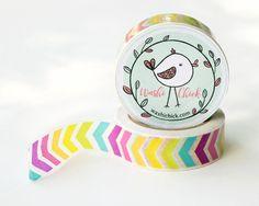 Rainbow Chevron Washi Tape - 1 roll, colorful washi tape, bright planner tape, 15mm x 10m,