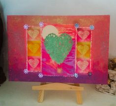 Hand Print Heart Air Balloon on Canvas