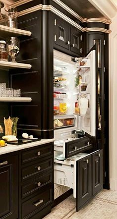 12 Kitchen Appliances - Trends You'll Adore -- 12 Kitchen Appliances – Trends You'll Adore – 12 Kitchen Appliance Trends – Which ones will you Love or Leave? Kitchen Dining, Kitchen Decor, Kitchen Cabinets, Kitchen Appliances, Black Cabinets, Kitchen Storage, Fridge Decor, Grand Kitchen, Design Kitchen