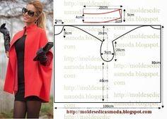 CASACO/CAPA FÁCIL DE FAZER Este modelo de casaco/capa para além de ser belo é fácil de fazer. Tem design arrojado e pouco comum. É um modelo que veste bem