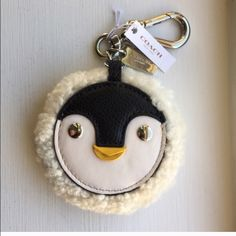 NWT Coach Penguin Motif w/Shearling Trim Keychain NWT Coach Penguin Motif w/Shearling Trim Keychain Coach Accessories Key & Card Holders