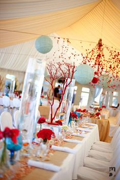 red and aqua wedding table decorations