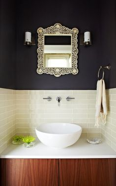 contrast in a small powder room