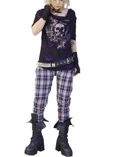 Skull Print Bleached & Distressed Cutsew Black x Purple. #punkfashion #Gothic #Deorart See more at: http://www.cdjapan.co.jp/apparel/deorart.html