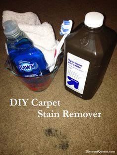 "Stain lifter..   WHAT YOU WILL NEED: Hydrogen Peroxide Blue Dawn Dishsoap Old Toothbrush Washcloth Cleaning Gloves (optional) The original pin called for 1 cup of Hydrogen Peroxide  and a ""few"" drops of blue Dawn Dishsoap mixed together... well what's a few? I put about 4 drops into the hydrogen peroxide and mixed it together with the old toothbrush."